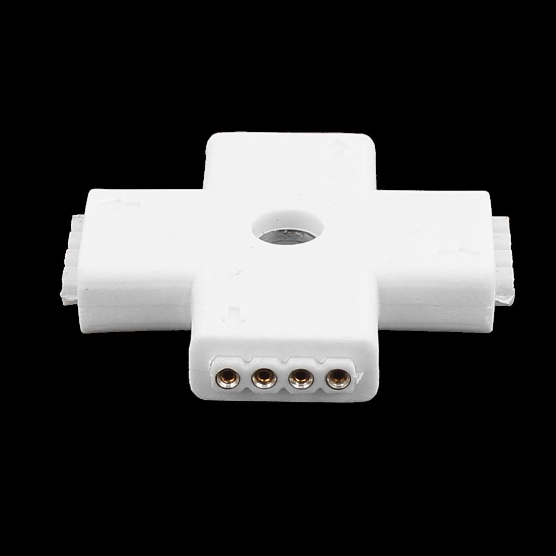 3Pcs Croix 4 Voie 4P Blanc connecteurfemelle 5050 Bande Lampe LED RGBW - image 2 de 3