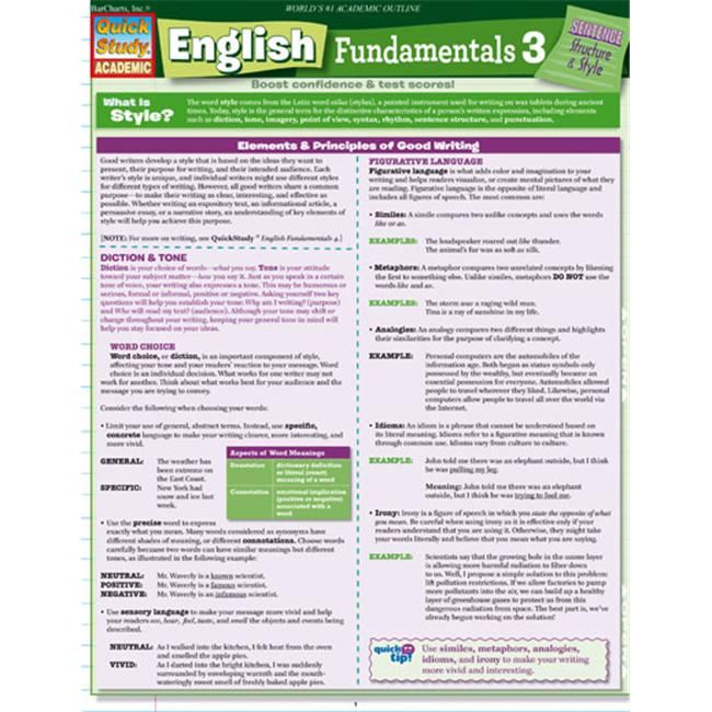 BarCharts- Inc.  9781423208723 English Fundamentals 3