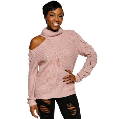 Neck Kit - Xehar Women's Cold Shoulder Turtleneck Eyelet Knit Pullover Sweater