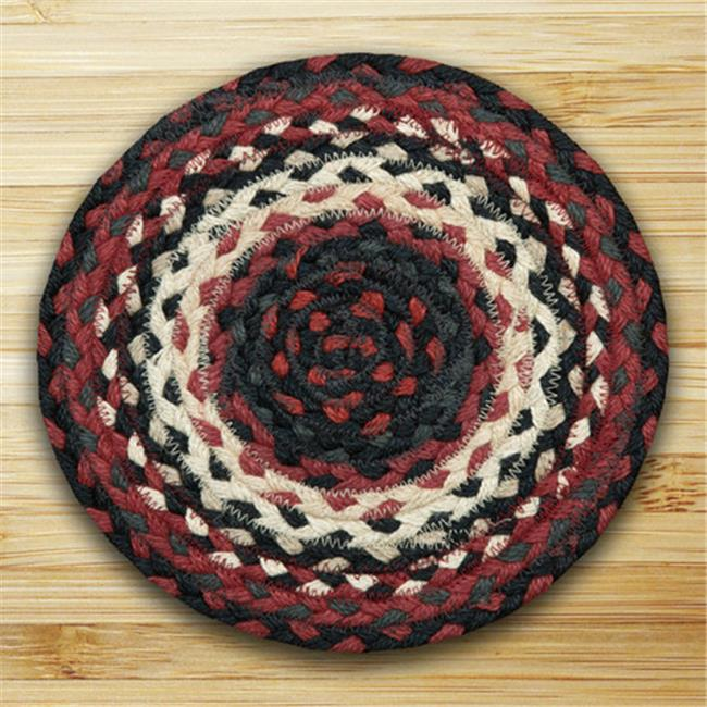 Earth Rugs 00-410 Miniature Swatch - Black, Ivory and Country Red