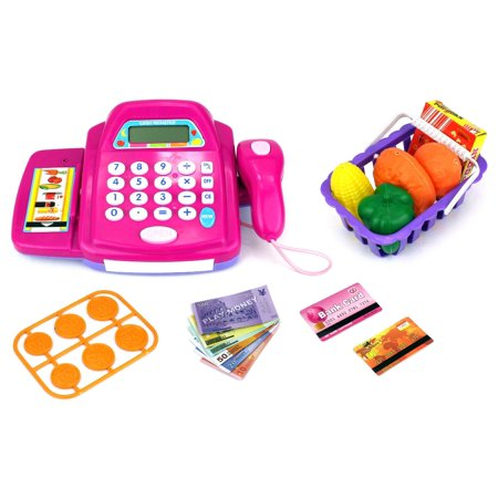 Fun Store Educational Pretend Play Battery Operated Toy Cash Register w/ Working Scanning Action and Calculator, Accessories