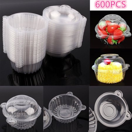 Fosa 600Pcs Plastic Cupcake Case Muffin Pods Dome Cups Cake Boxes - Cupcake Plastic Containers