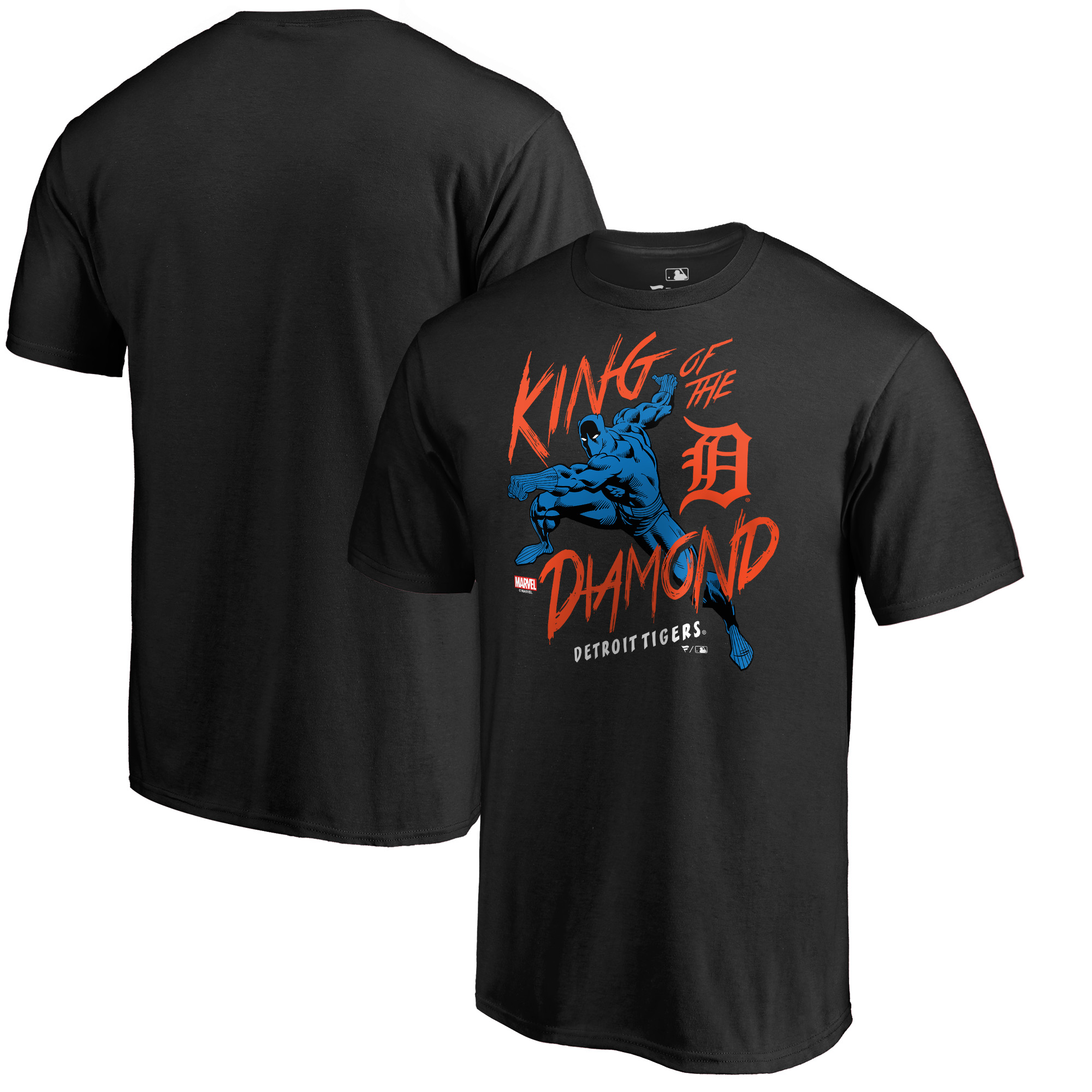 Detroit Tigers Fanatics Branded MLB Marvel Black Panther King of the Diamond T-Shirt - Black