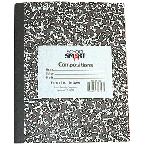 "School Smart  Flexible Cover Marbleback Composition Books, 8.5"" x 7"", 48-Sheet Count"