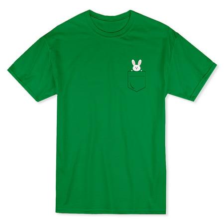 Cute Bunny Left Chest Pocket Graphic Men's T-shirt Left Chest Pocket T-shirt