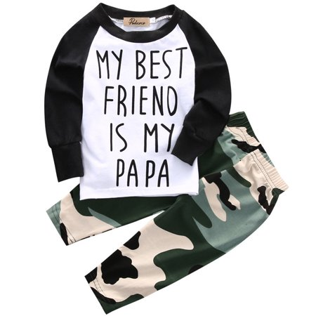 Baby Boys My Best Friend Is My Papa Long Sleeve Raglan T-Shirt and Camo Pants (Best Friend Outfit Goals)