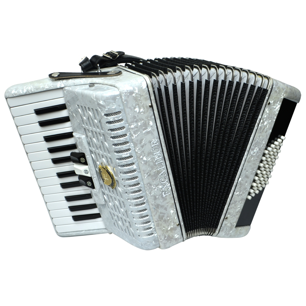 Excalibur Frankfurt 48 Bass Ultralite Accordion Pearl White by