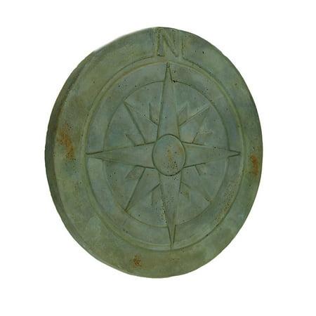 Compass Rose Symbol Green Verdigris Finish Round Cement Step Stone 10 Inch - image 3 of 3