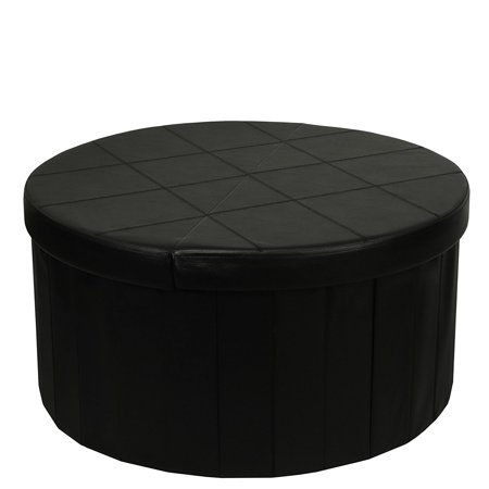 Otto & Ben 30 Inch Round Line Design SMART LIFT TOP Storage Ottoman with Faux Leather, Black
