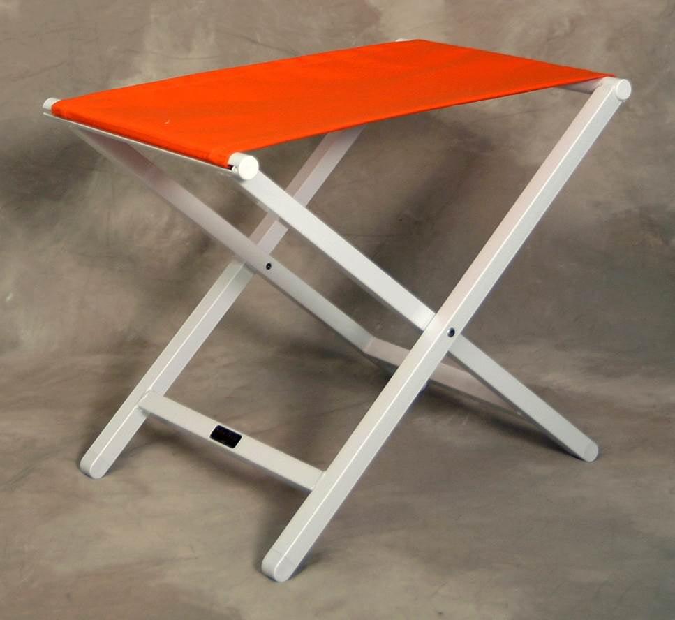 Monterey Large Orange Footstool w Folding White Aluminum Frame