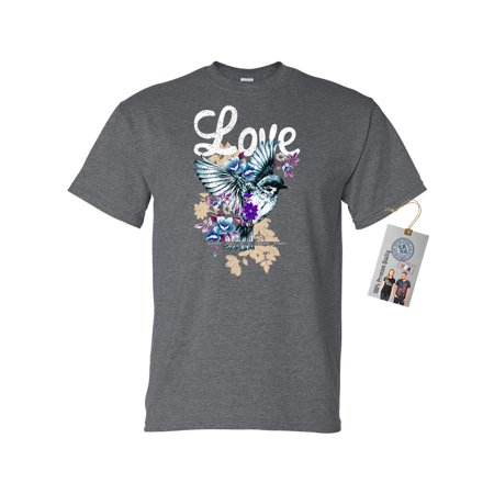 Love Life Floral Hummingbird Mens Short Sleeve Shirt
