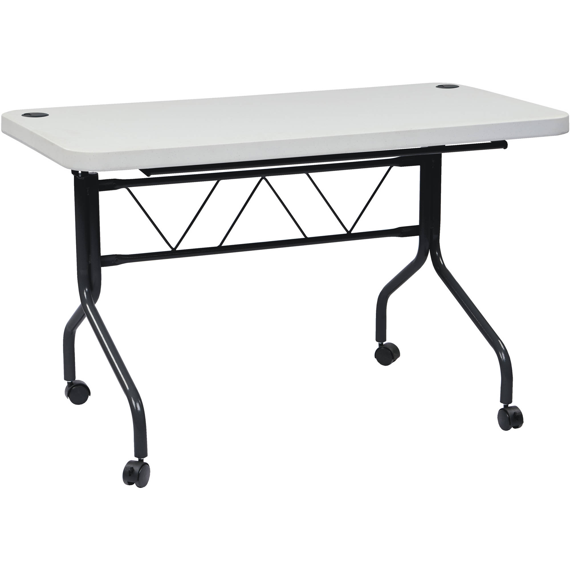 Work Smart 4' Resin Multi-Purpose Flip Table with Locking Casters, Grey