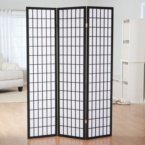 Simora Black Shoji 3 Panel Room Divider