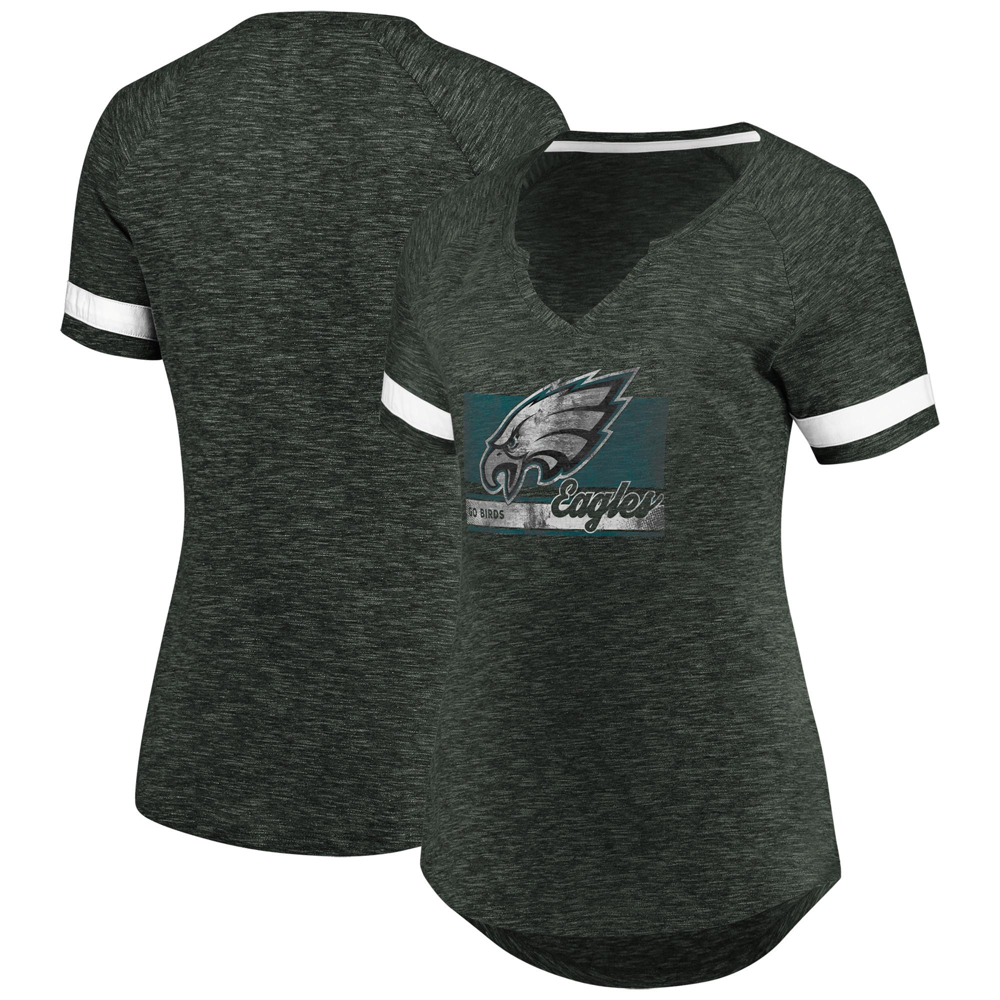 Philadelphia Eagles Majestic Women's Legendary Look Raglan T-Shirt - Heathered Gray