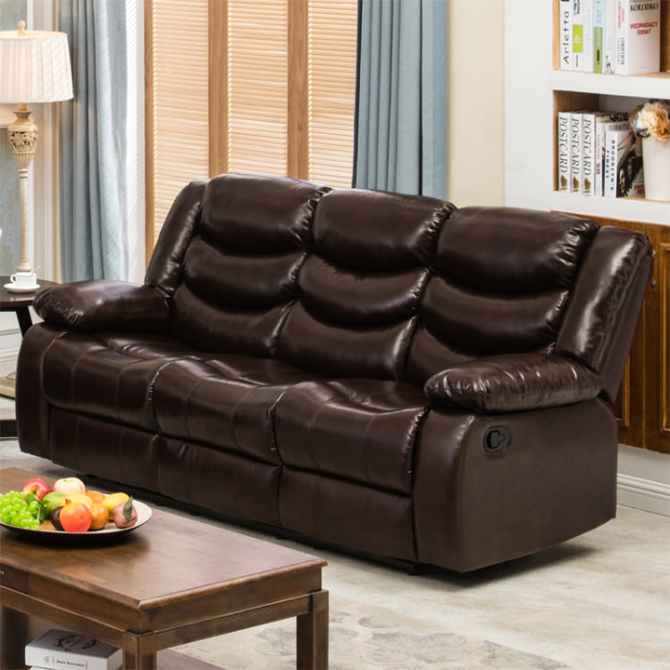 Winslow Rustic Dark Brown PU Leather Recliner Sofa with Cup Holder -  Walmart.com