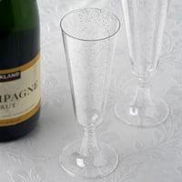 Efavormart 60 Pack 5 oz Glittered Clear Champagne Flute Cocktail Disposable Plastic Glasses