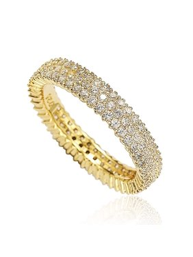 Golden Sterling Silver Micro-Pave White Cubic Zirconia Eternity Band
