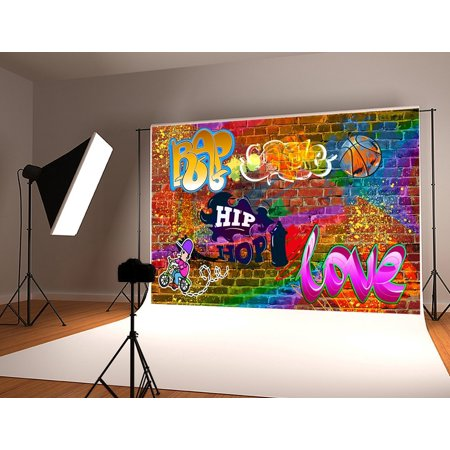 HelloDecor Polyster 7x5ft Hip Hop Graffiti Photography Backdrop 90th Colorful Brick Wall Background for Party Decorations Photo Studio Backdrops