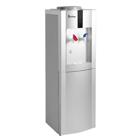 Dispenser Lock - ZOKOP Top Loading Water Cooler Dispenser Freestanding with Hot & Cold Water, Storage Cabinet, Child Safety Lock, Perfect for Office Home