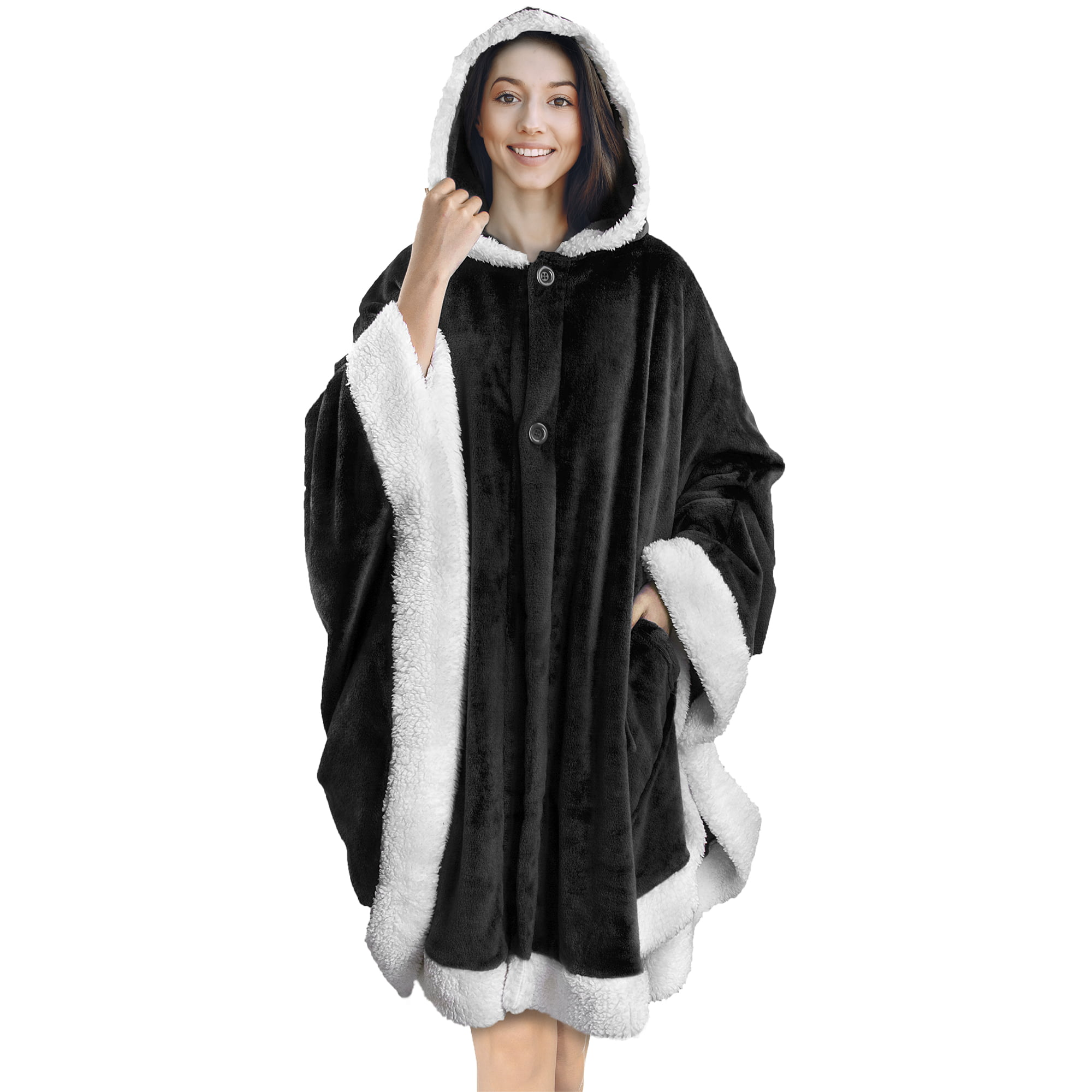 Angel Wrap Hooded with White Sleeve Edges for Women Gift Black Yishide Wearable Poncho Blanket Throw Cape Cozy and Warm with Soft Sherpa