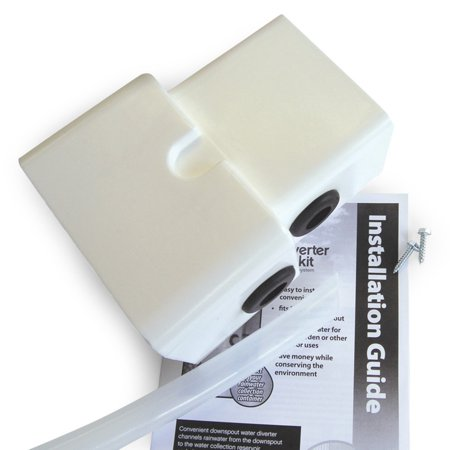 Emsco Group 2275-1 Rescue Dual Diverter Kit, White - Fits Both 2x3 & 3x4 Downspouts