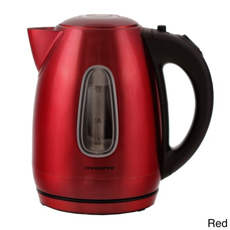Ovente Electric Kettle 1.7 Liter Stainless Steel with Concealed Heating Element and Boil Dry Protection, 1100 Watt Fast Heating, LED Indicator Light, Perfect for Coffee, Tea Red (KS96R)