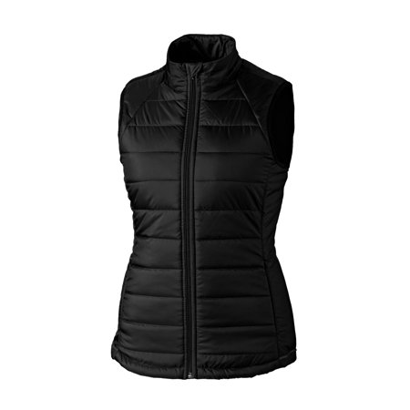 cutter & buck women's lightly quilted reflective post alley mock vest with pockets, black, large
