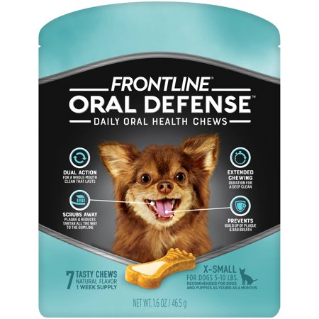 Pet Oral Gel - Frontline Oral Defense Dental Chews for Extra Small Dogs, 7 Chews