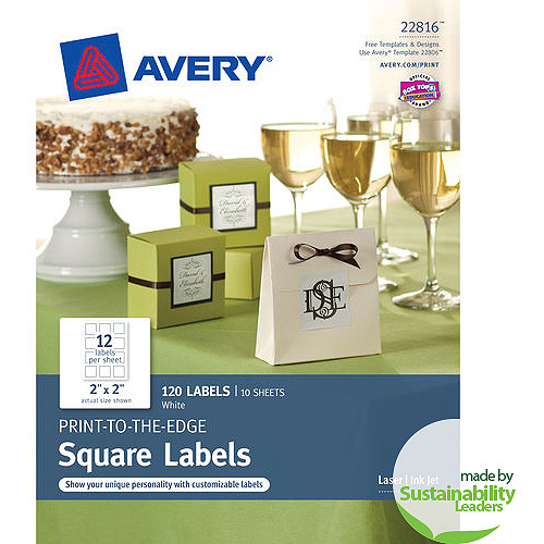 """Avery(R) Print-to-the-Edge Square Labels 22816, 2""""x 2"""", Pack of 120"""