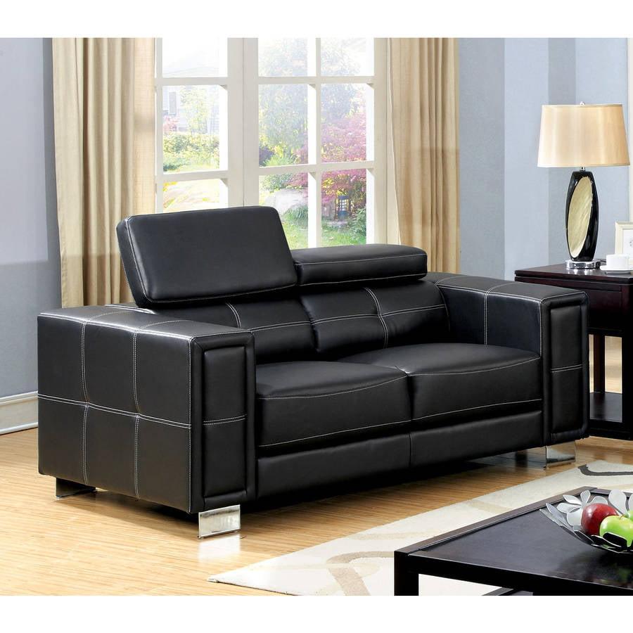 Furniture of America Carleen Contemporary Leatherette Loveseat, Black