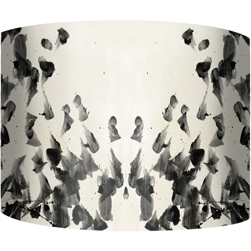 "12"" Drum Lamp Shade, Black and White Abstract"