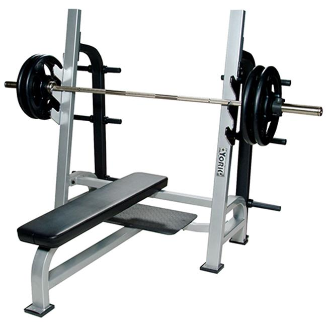 York Barbell 54041 Olympic Flat Bench with Gun Racks, White