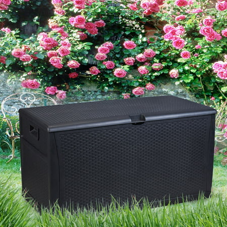 Ainfox Patio Storage Deck Box Outdoor Plastic Bench All Weather Resin Wicker Container Seat Black
