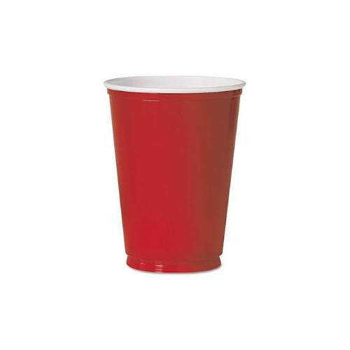 Plastic Party Cold Cups, 12 oz., Red, 50/Pack