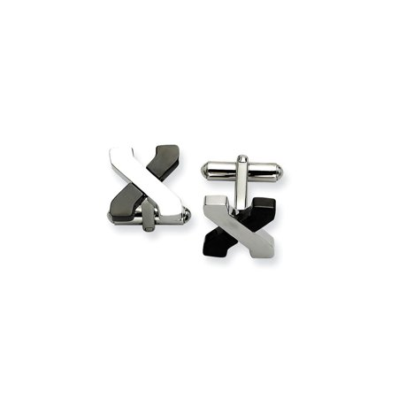 Stainless Steel Black Plating Cufflinks Man Cuff Link Gift For Dad Mens For