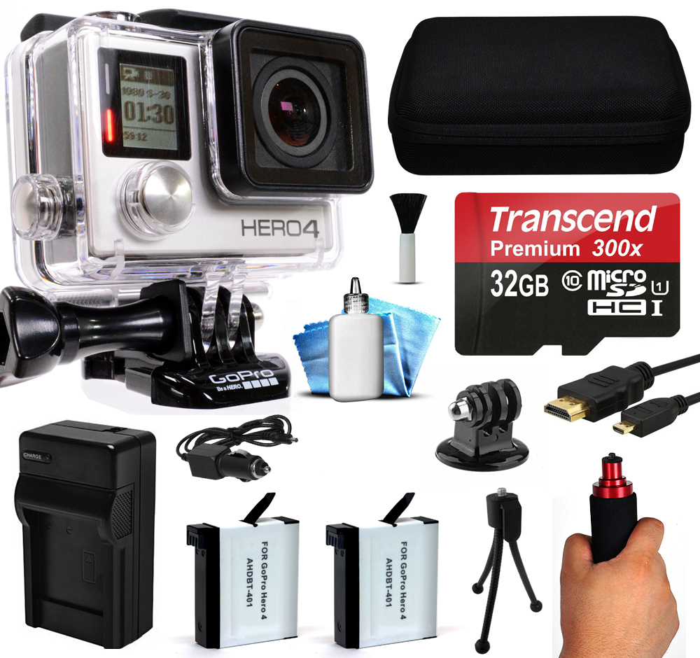GoPro HERO4 Hero 4 Black Edition 4K Action Camera Camcorder with 32GB Starter Accessory Kit with MicroSD Card, Hand Grip, 2x Batteries, Home and Car Charger, Medium Case, HDMI, Cleaning Kit CHDHX-401