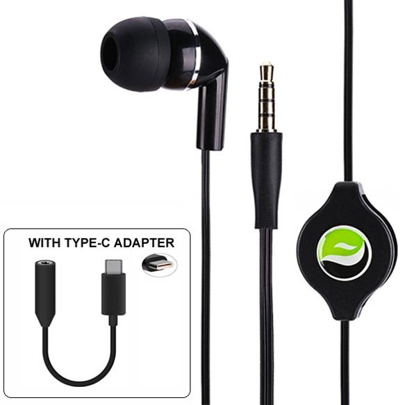 Retractable Handsfree MONO Headset Mic Earphone with TYPE-C Audio Adapter Peemium Sound Headphone Converter Single Earbud Black ZYY for Motorola Moto Z Play Droid