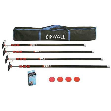 Zipwall Dust Barrier (Zipwall ZP4 With 4 Steel 10 Ft Poles Dust Barrier)