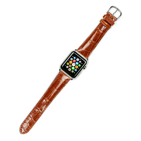 Havana Finish (Apple Watch Strap - Genuine Alligator Watch Band - Shiny Finish - Havana - Fits 42mm Series 1 & 2 Apple Watch [Silver Adapters])