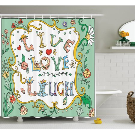 Live Laugh Love Shower Curtain Ornate Doodle Wreath Inspiring Quote With Flowers Springtime Petals Print