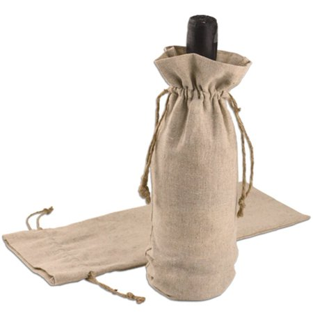Jute Wine Bags Bulk Fancy Reusable Linen Burlap Gift Pouch with Natural Jute Drawstring Cord - Pack of 12