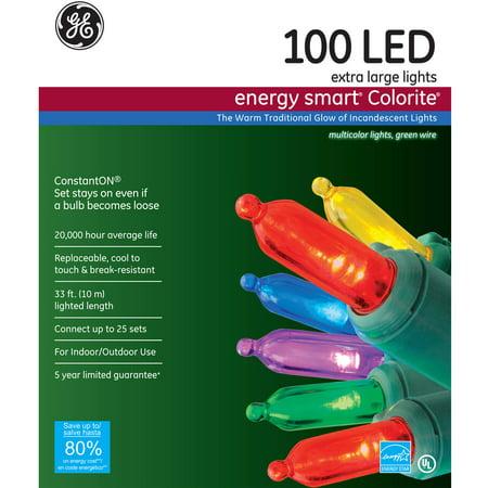 ge energy smart 7mm led christmas lights multi color 100ct - 100 Led Christmas Lights