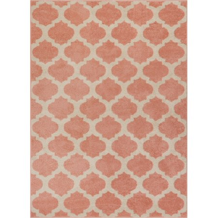 Tinsley Trellis Pink & Ivory Moroccan Lattice Modern Geometric Pattern 5x7 (5' x 7') Area Rug Soft Shed Free Easy to Clean Stain Resistant ()