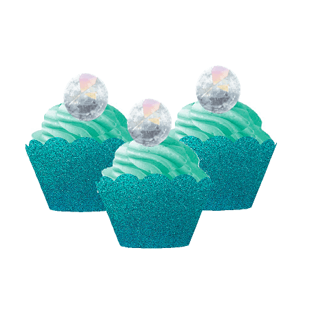 12pk Iridescent Ring Wedding Bridal Shower Cupcake Toppers w. Turquoise Glitter Wrappers