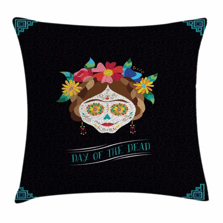 Day of the Dead Throw Pillow Cushion Cover, Hispanic Holiday La Calavera de la Catrina Inspired Hairstyle and Make Up, Decorative Square Accent Pillow Case, 16 X 16 Inches, Multicolor, by Ambesonne