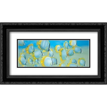 Butterfly Fishs 2x Matted 24x14 Black Ornate Framed Art Print by Atelier B Art