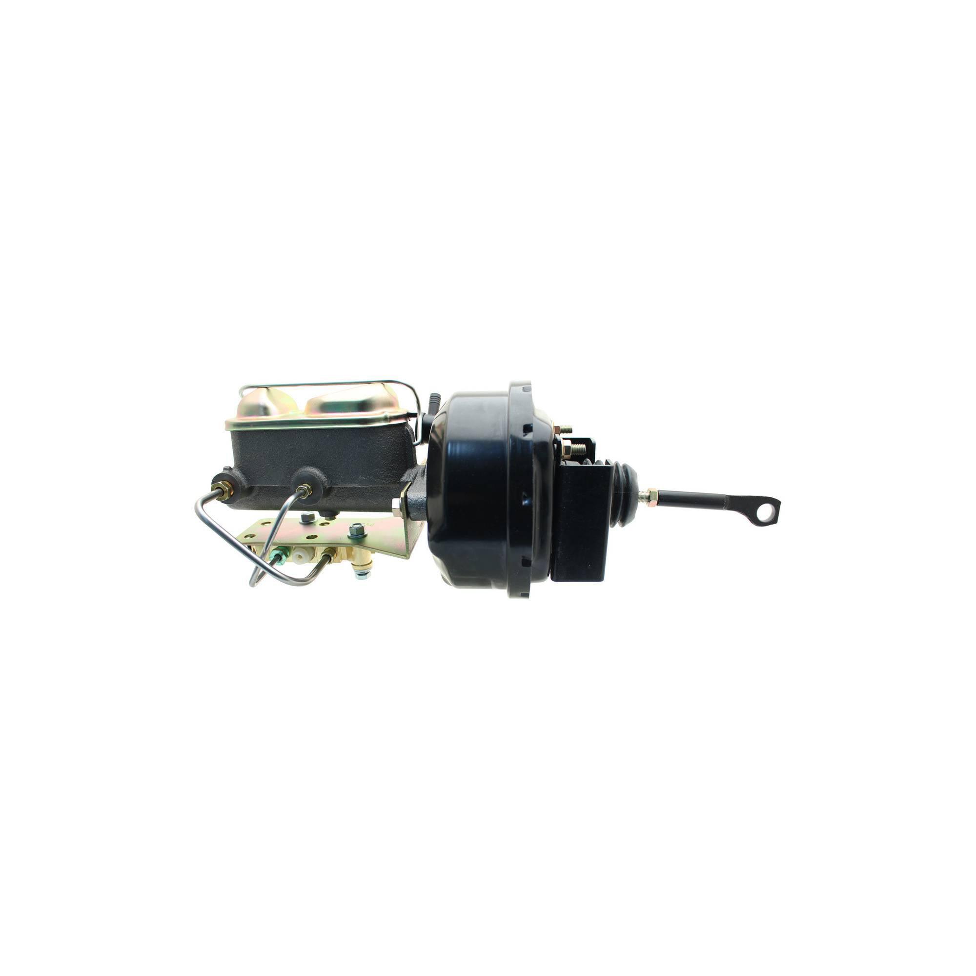 "Black Smooth Master Cylinder 7/"" Single BLACK Universal Power Brake Booster"