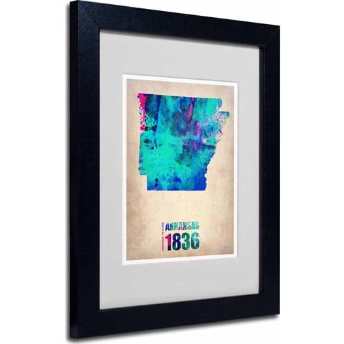 "Trademark Fine Art ""Arkansas Watercolor Map"" Matted Framed Art by Naxart, Black Frame"