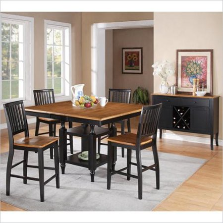 piece counter height dining table set in oak and black