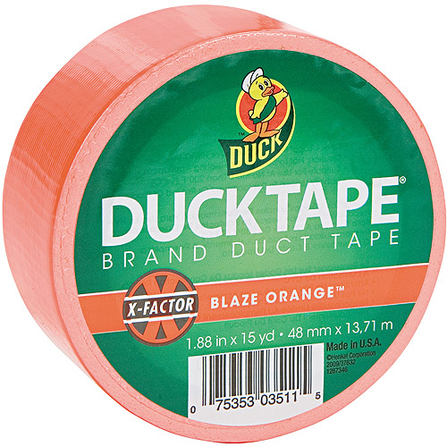 "Duck Brand 1.88"" x 15 yd Colored Duct Tape, 3"" Core, Neon Orange"